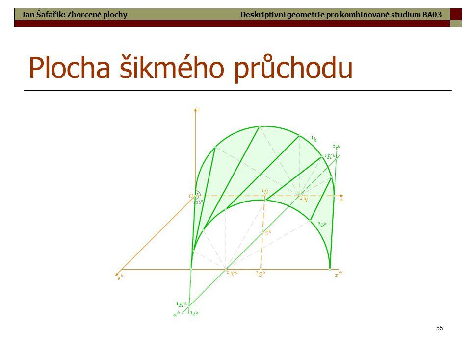 55 Plocha šikmého průchodu Jan Šafařík: Zborcené plochyDeskriptivní geometrie pro kombinované studium BA03