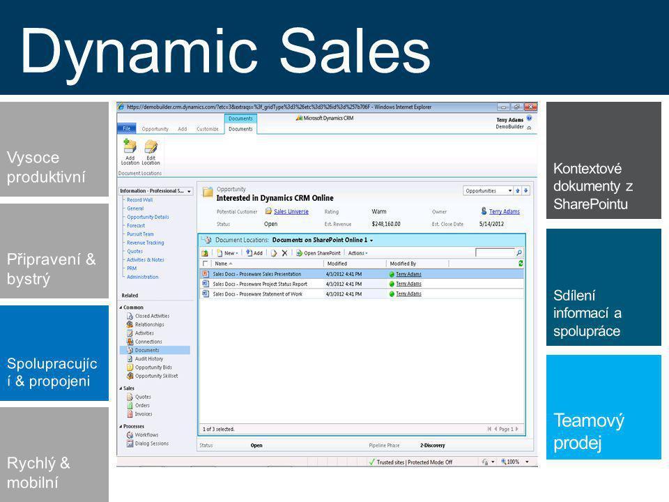 Dynamic Sales Spolupracujíc í & propojeni Připravení & bystrý Vysoce produktivní Rychlý & mobilní