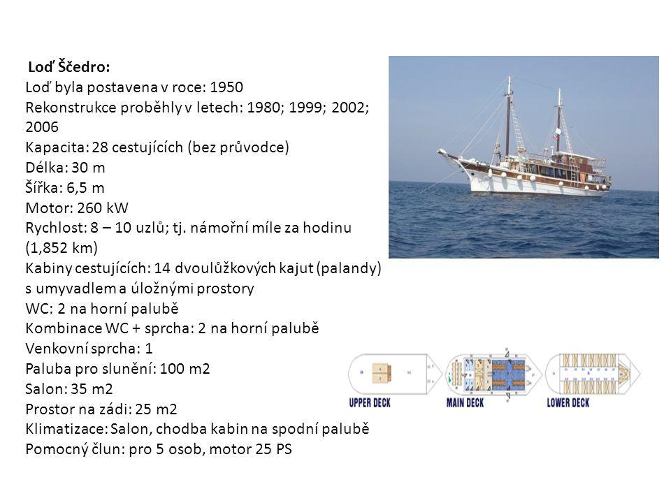 Loď Ščedro: Loď byla postavena v roce: 1950 Rekonstrukce proběhly v letech: 1980; 1999; 2002; 2006 Kapacita: 28 cestujících (bez průvodce) Délka: 30 m