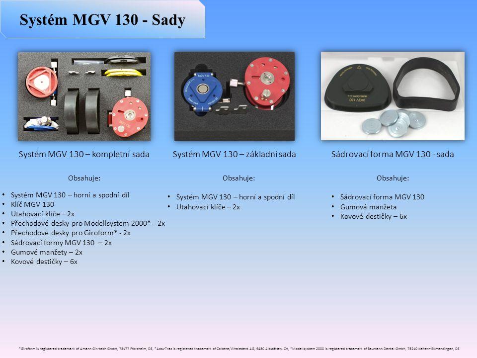 Obsahuje: • Systém MGV 130 – horní a spodní díl • Klíč MGV 130 • Utahovací klíče – 2x • Přechodové desky pro Modellsystem 2000* - 2x • Přechodové desk