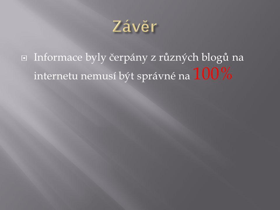  Informace byly čerpány z různých blogů na internetu nemusí být správné na 100%