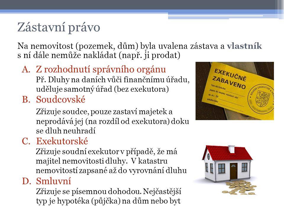 Zástavní právo Na nemovitost (pozemek, dům) byla uvalena zástava a vlastník s ní dále nemůže nakládat (např. ji prodat) A.Z rozhodnutí správního orgán