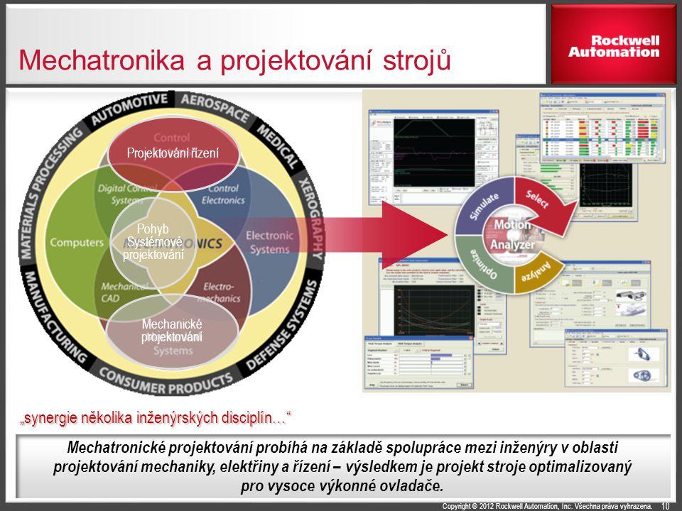 Copyright © 2012 Rockwell Automation, Inc. Všechna práva vyhrazena. Mechatronika a projektování strojů 10 Mechanické projektování Projektování řízení