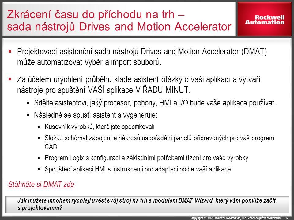 Copyright © 2012 Rockwell Automation, Inc. Všechna práva vyhrazena. Zkrácení času do příchodu na trh – sada nástrojů Drives and Motion Accelerator  P