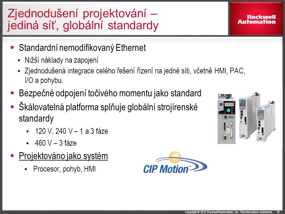 Copyright © 2012 Rockwell Automation, Inc. Všechna práva vyhrazena. Zjednodušení projektování – jediná síť, globální standardy  Standardní nemodifiko