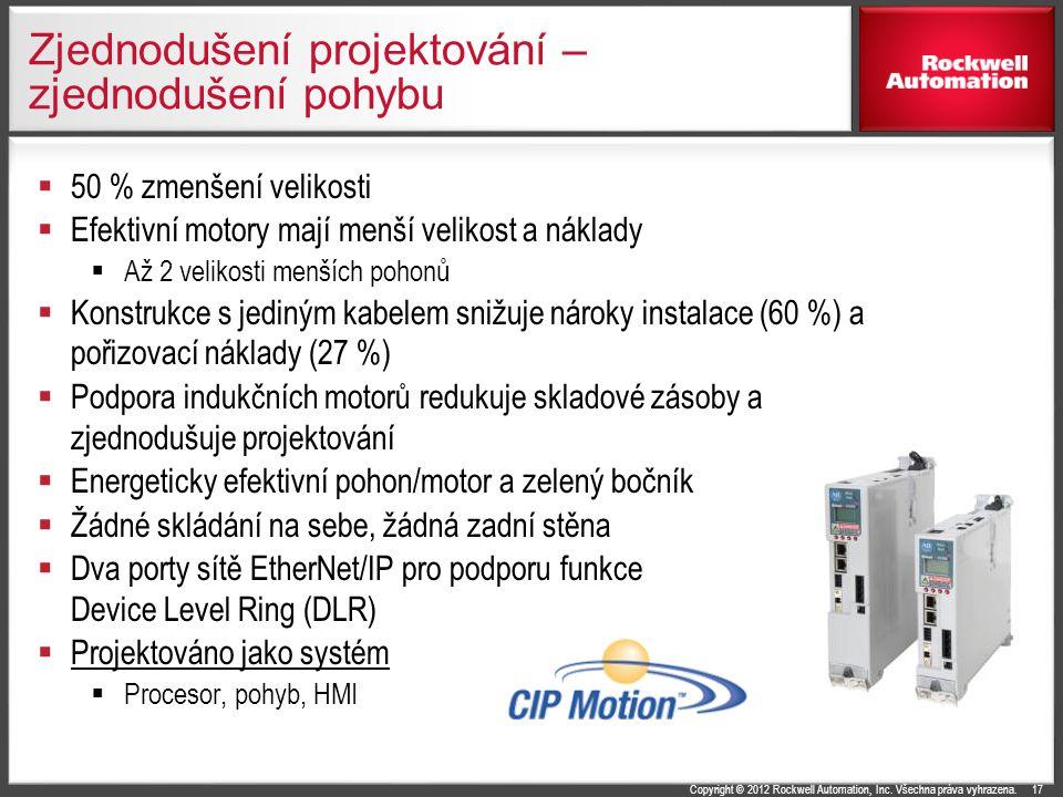 Copyright © 2012 Rockwell Automation, Inc. Všechna práva vyhrazena. Zjednodušení projektování – zjednodušení pohybu  50 % zmenšení velikosti  Efekti