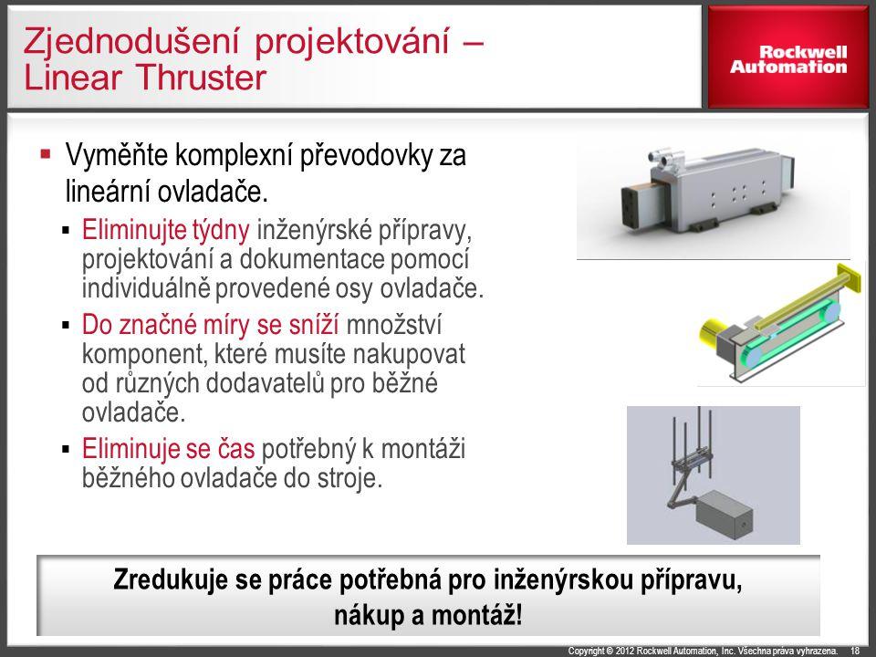 Copyright © 2012 Rockwell Automation, Inc. Všechna práva vyhrazena. Zjednodušení projektování – Linear Thruster  Vyměňte komplexní převodovky za line