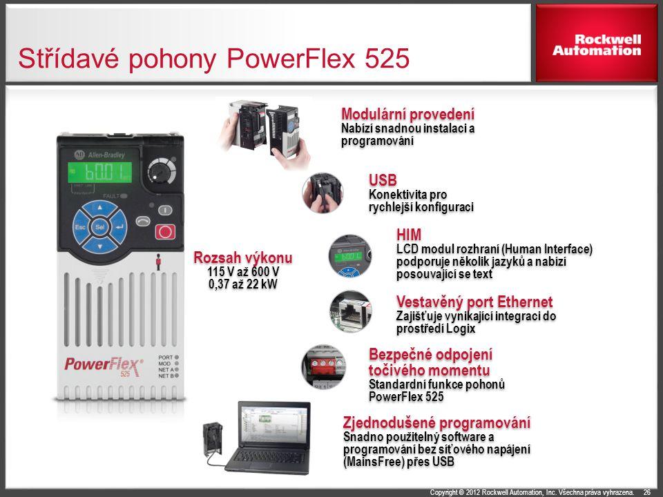 Copyright © 2012 Rockwell Automation, Inc. Všechna práva vyhrazena. Střídavé pohony PowerFlex 525 26 USB Konektivita pro rychlejší konfiguraci USB Kon
