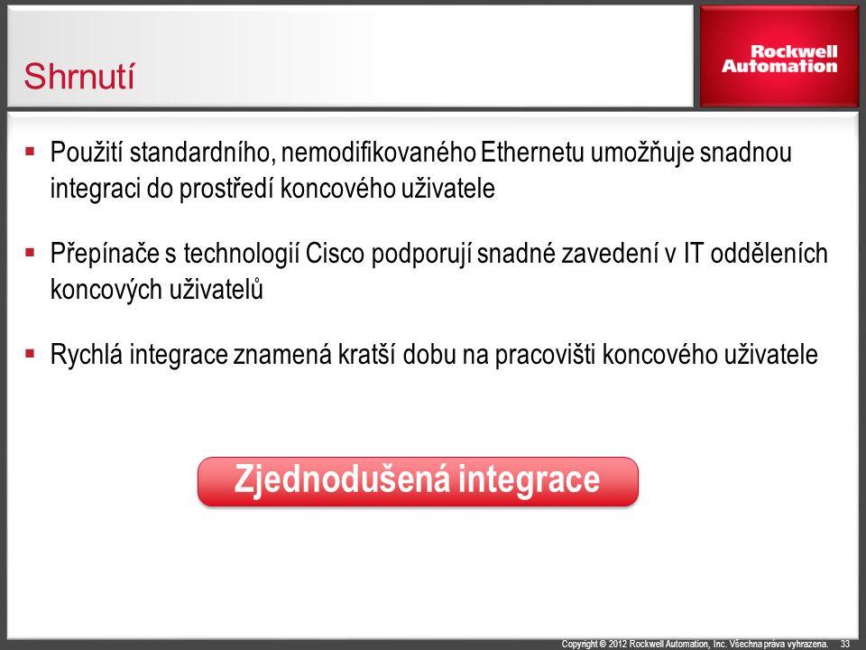 Copyright © 2012 Rockwell Automation, Inc. Všechna práva vyhrazena. Shrnutí  Použití standardního, nemodifikovaného Ethernetu umožňuje snadnou integr
