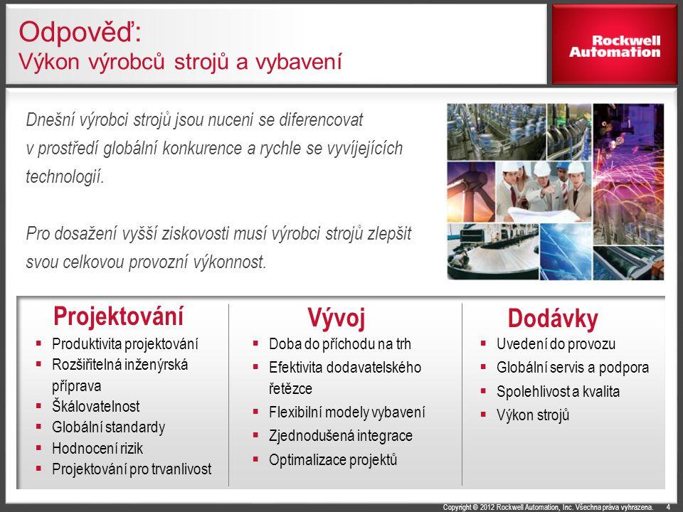 Copyright © 2012 Rockwell Automation, Inc. Všechna práva vyhrazena. Odpověď: Výkon výrobců strojů a vybavení  Uvedení do provozu  Globální servis a