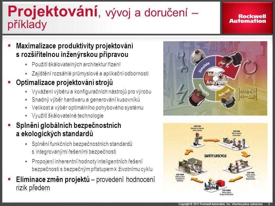 Copyright © 2012 Rockwell Automation, Inc. Všechna práva vyhrazena. Projektování, vývoj a doručení – příklady  Maximalizace produktivity projektování