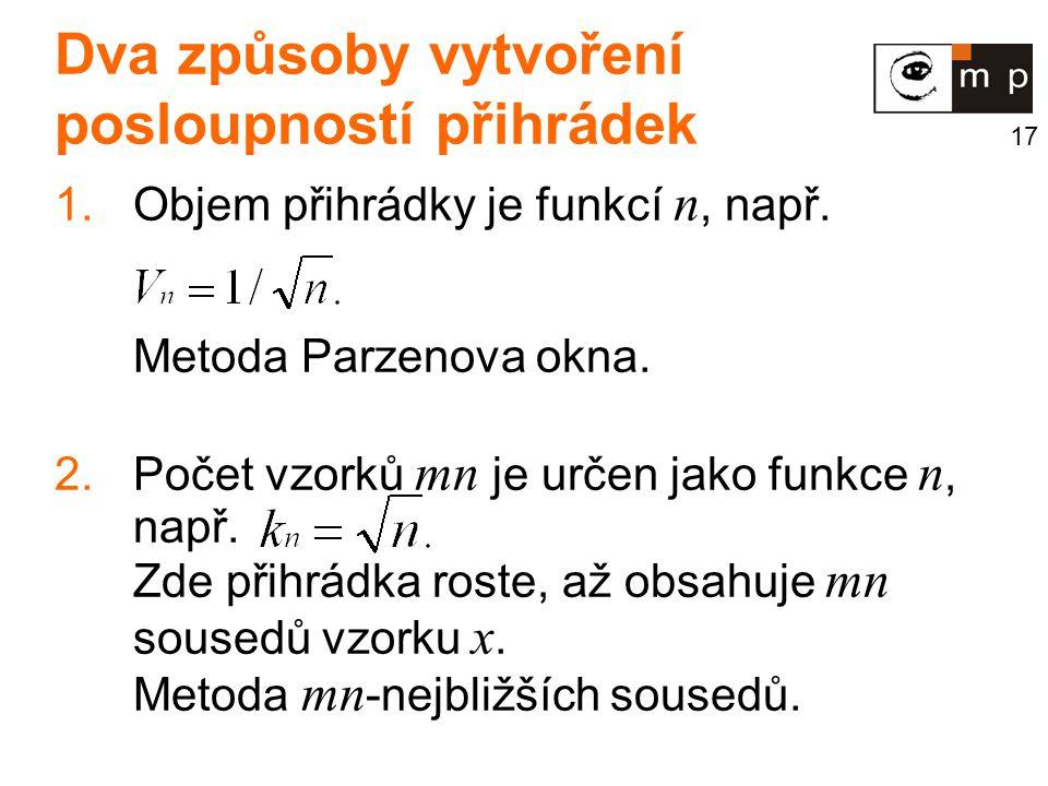 17 Dva způsoby vytvoření posloupností přihrádek 1.Objem přihrádky je funkcí n, např.