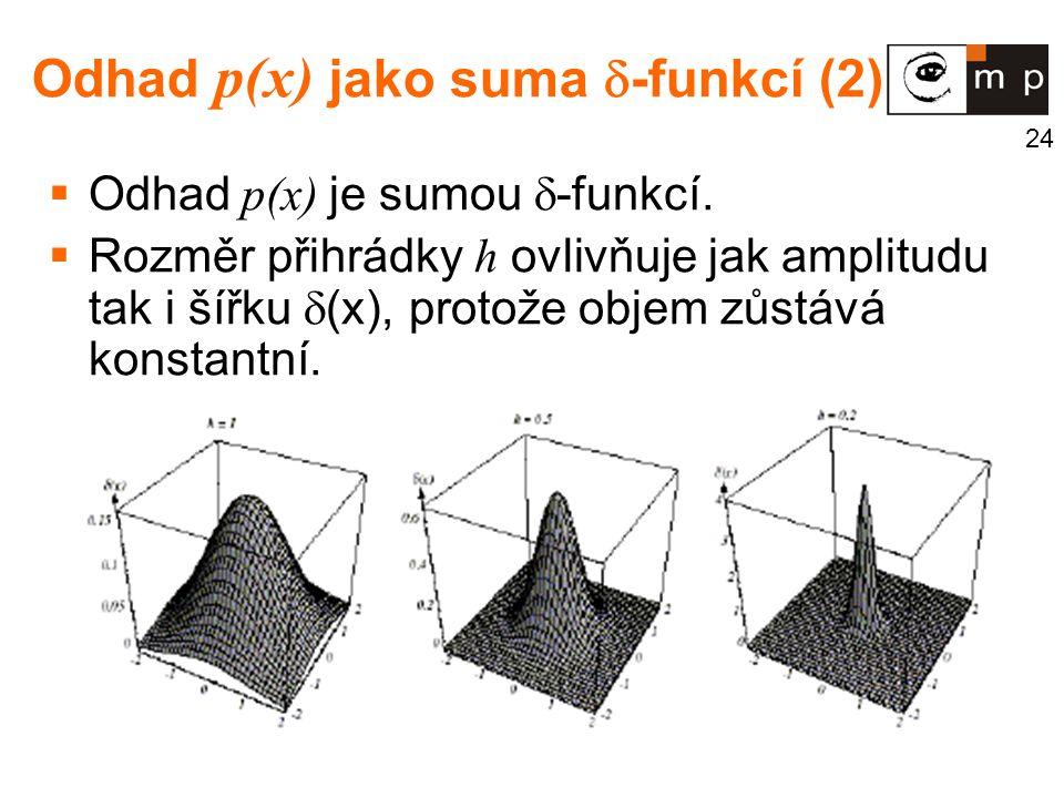 24 Odhad p(x) jako suma  -funkcí (2)  Odhad p(x) je sumou  -funkcí.