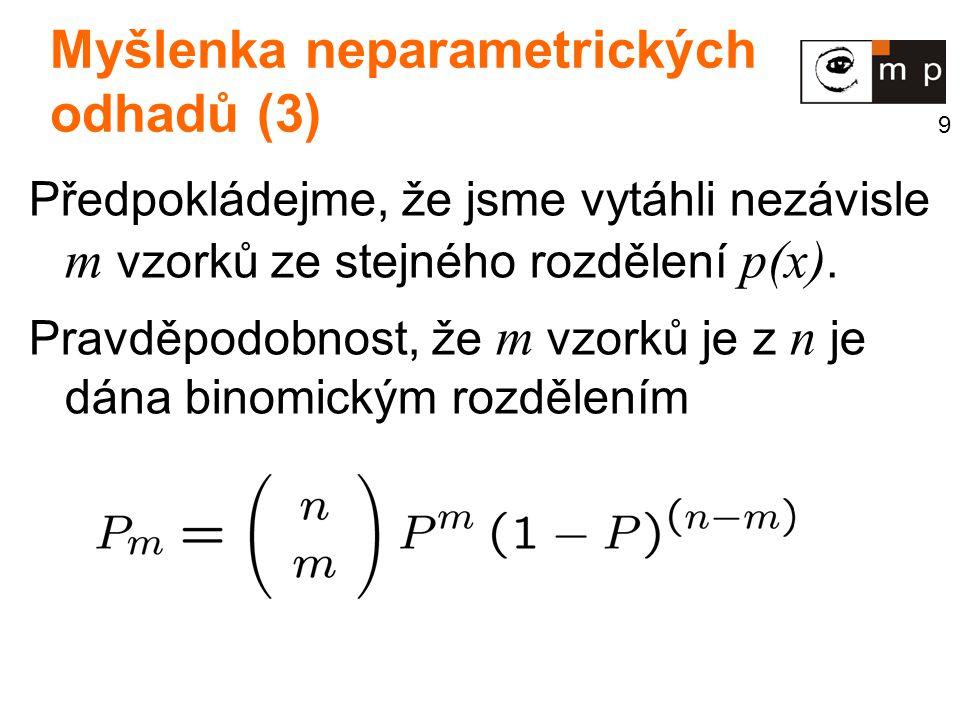 9 Myšlenka neparametrických odhadů (3) Předpokládejme, že jsme vytáhli nezávisle m vzorků ze stejného rozdělení p(x).
