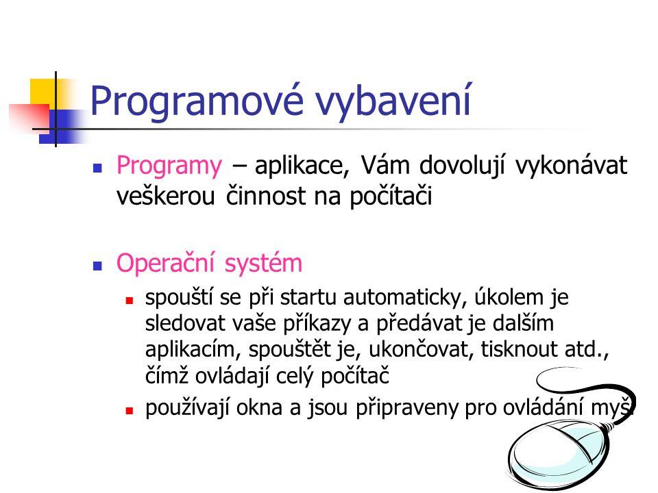 Programové vybavení  Programy – aplikace, Vám dovolují vykonávat veškerou činnost na počítači  Operační systém  spouští se při startu automaticky,