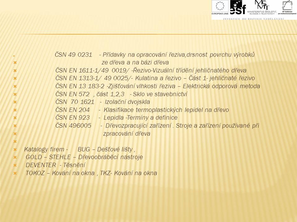 ČSN 49 0231 - Přídavky na opracování řeziva,drsnost povrchu výrobků  ze dřeva a na bázi dřeva  ČSN EN 1611-1/49 0019/ -Řezivo-Vizuální třídění jeh
