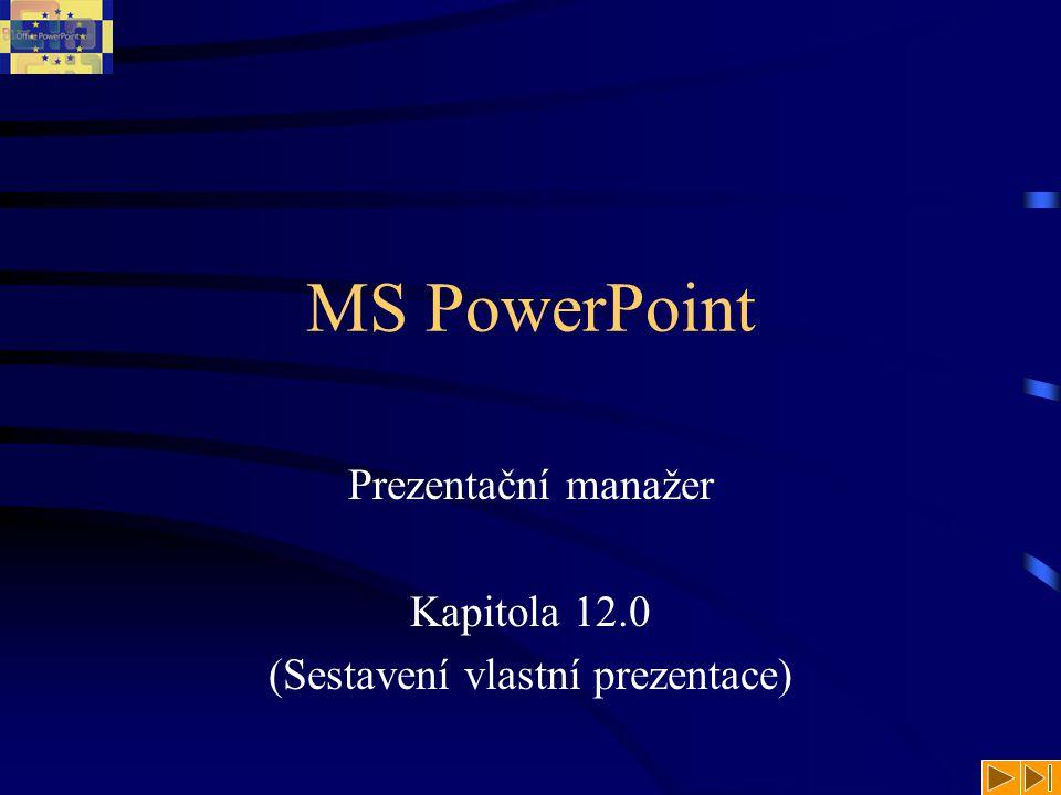 MS PowerPoint Prezentační manažer Kapitola 12.0 (Sestavení vlastní prezentace)
