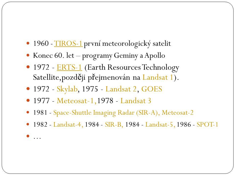  1960 - TIROS-1 první meteorologický satelitTIROS-1  Konec 60. let – programy Geminy a Apollo  1972 - ERTS-1 (Earth Resources Technology Satellite,