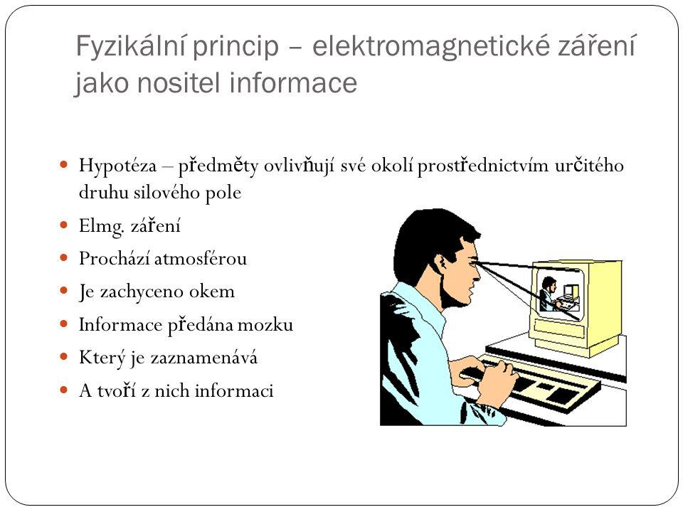 Fyzikální princip – elektromagnetické záření jako nositel informace  Hypotéza – p ř edm ě ty ovliv ň ují své okolí prost ř ednictvím ur č itého druhu