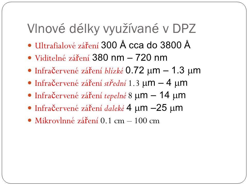 Vlnové délky využívané v DPZ  Ultrafialové zá ř ení 300 Å cca do 3800 Å  Viditelné zá ř ení 380 nm – 720 nm  Infra č ervené zá ř ení blízké 0.72 