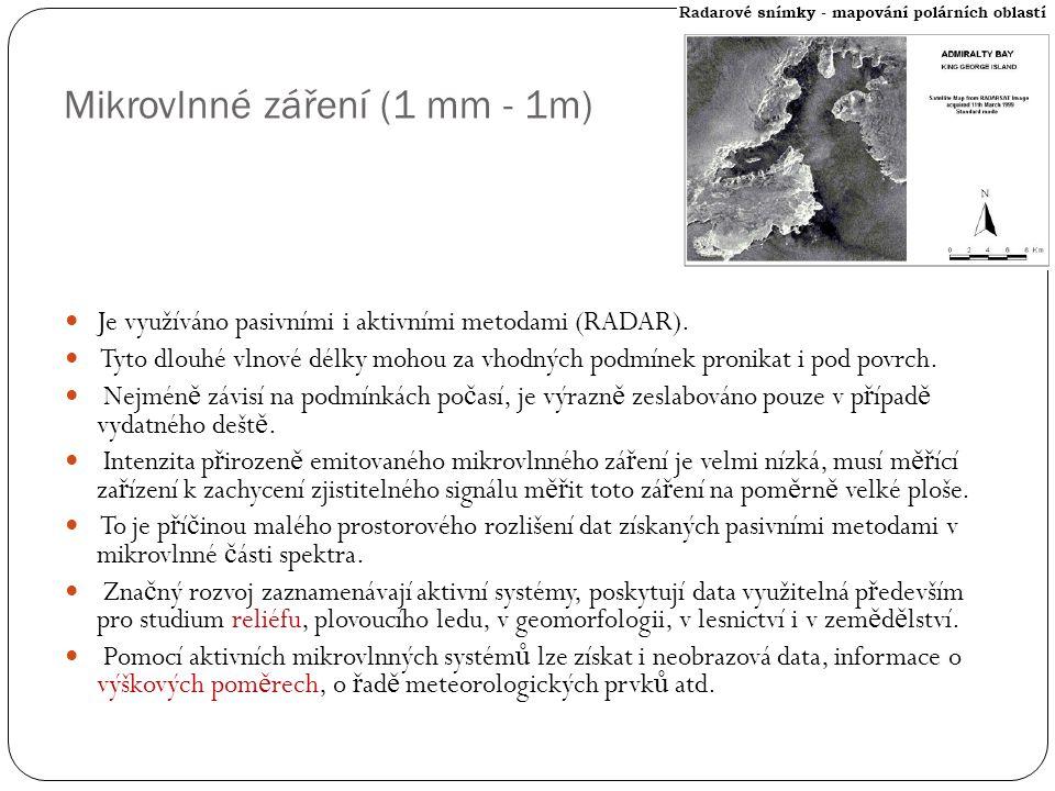 Mikrovlnné záření (1 mm - 1m)  Je využíváno pasivními i aktivními metodami (RADAR).  Tyto dlouhé vlnové délky mohou za vhodných podmínek pronikat i