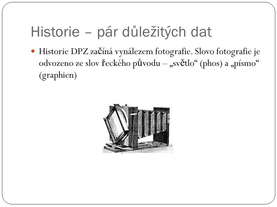 """Historie – pár důležitých dat  Historie DPZ za č íná vynálezem fotografie. Slovo fotografie je odvozeno ze slov ř eckého p ů vodu – """"sv ě tlo"""" (phos)"""