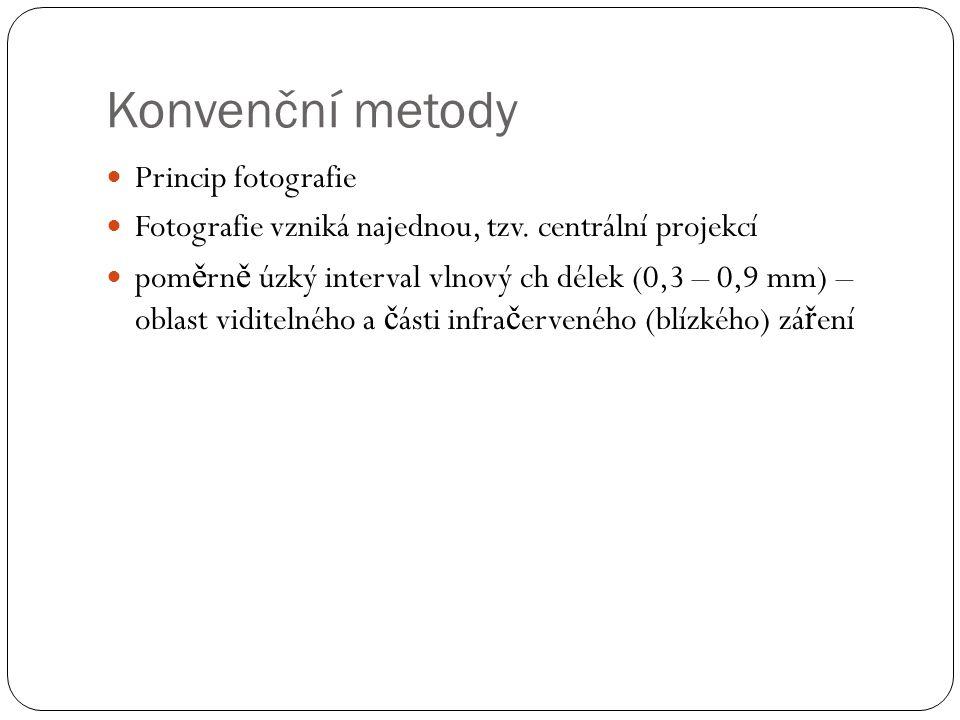 Konvenční metody  Princip fotografie  Fotografie vzniká najednou, tzv. centrální projekcí  pom ě rn ě úzký interval vlnový ch délek (0,3 – 0,9 mm)
