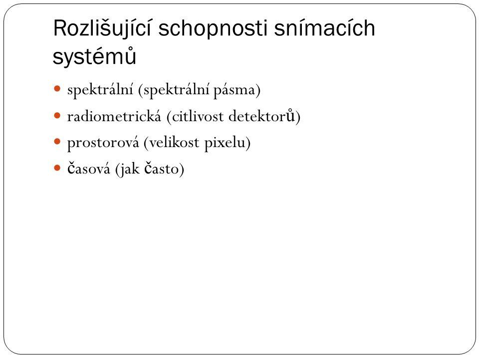Rozlišující schopnosti snímacích systémů  spektrální (spektrální pásma)  radiometrická (citlivost detektor ů )  prostorová (velikost pixelu)  č as