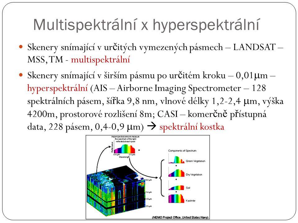 Multispektrální x hyperspektrální  Skenery snímající v ur č itých vymezených pásmech – LANDSAT – MSS, TM - multispektrální  Skenery snímající v širš