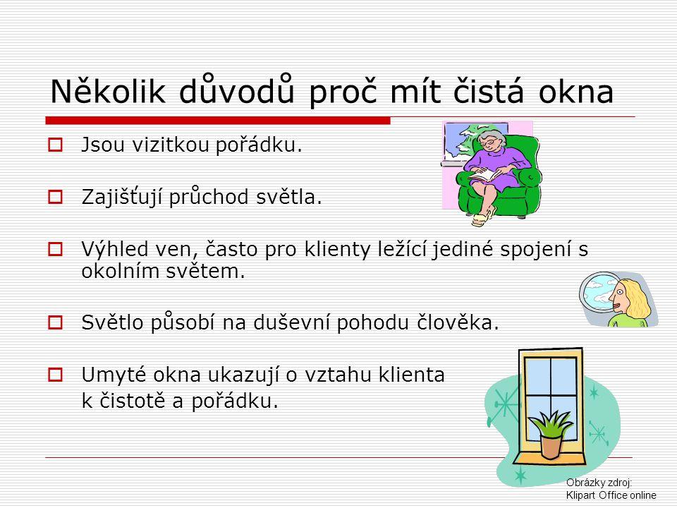 Způsoby mytí oken  stěrkou  hadrem, houbou  jelení kůží  elektrickou myčkou Klipart Office online