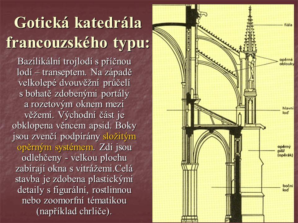 Gotická katedrála francouzského typu: Bazilikální trojlodí s příčnou lodí – transeptem. Na západě velkolepé dvouvěžní průčelí s bohatě zdobenými portá