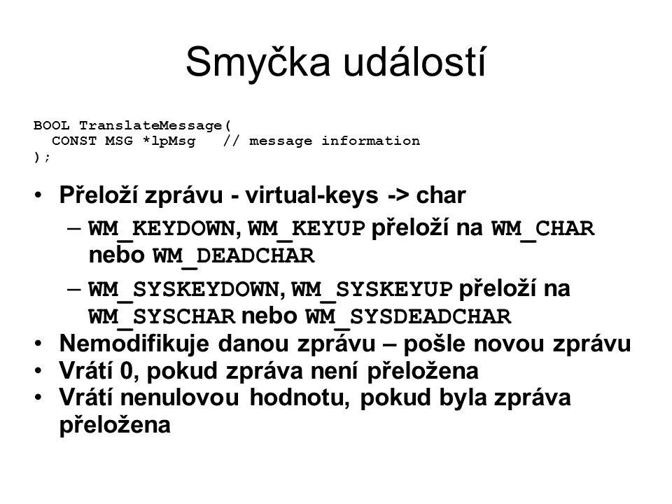 Smyčka událostí BOOL TranslateMessage( CONST MSG *lpMsg // message information ); •Přeloží zprávu - virtual-keys -> char – WM_KEYDOWN, WM_KEYUP přeloží na WM_CHAR nebo WM_DEADCHAR – WM_SYSKEYDOWN, WM_SYSKEYUP přeloží na WM_SYSCHAR nebo WM_SYSDEADCHAR •Nemodifikuje danou zprávu – pošle novou zprávu •Vrátí 0, pokud zpráva není přeložena •Vrátí nenulovou hodnotu, pokud byla zpráva přeložena
