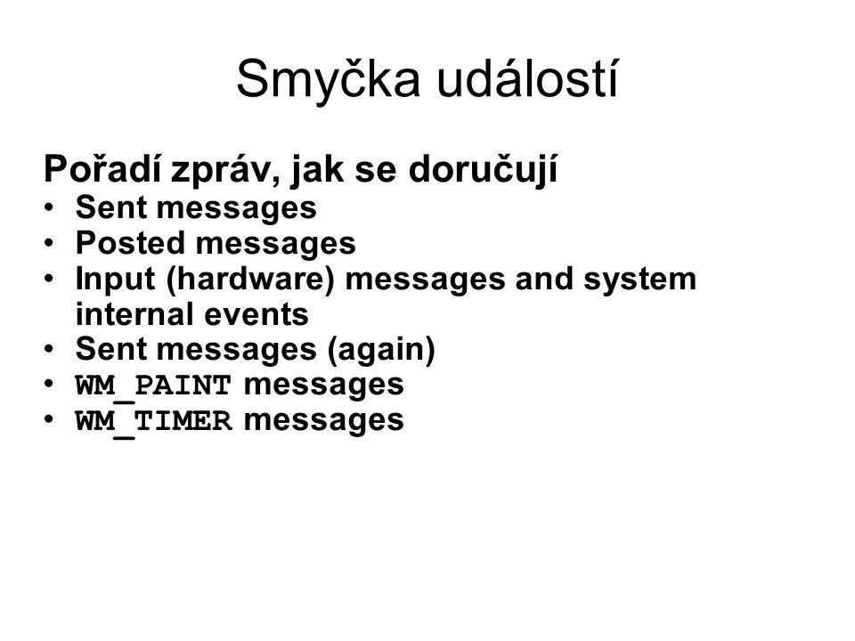 Smyčka událostí Pořadí zpráv, jak se doručují •Sent messages •Posted messages •Input (hardware) messages and system internal events •Sent messages (ag