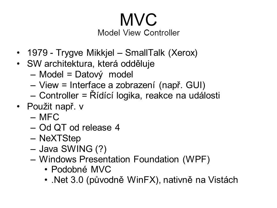 MVC Model View Controller •1979 - Trygve Mikkjel – SmallTalk (Xerox) •SW architektura, která odděluje –Model = Datový model –View = Interface a zobrazení (např.