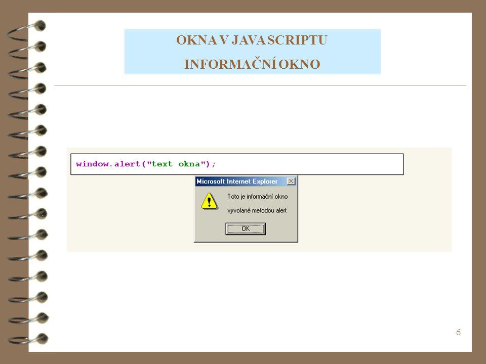 17 Tento text vypsal JavaScript 10+20=30 10-20=-10 10*20=200 10/20=0.5 CVIČENÍ 1 Vytvořte Java Script, kde do dvou proměnných vložíte hodnoty, se kterými provedete následující matematické operace.