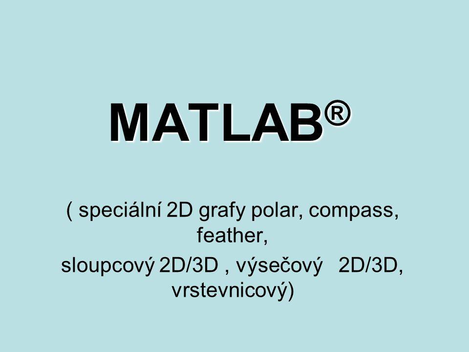 MATLAB ® ( speciální 2D grafy polar, compass, feather, sloupcový 2D/3D, výsečový 2D/3D, vrstevnicový)
