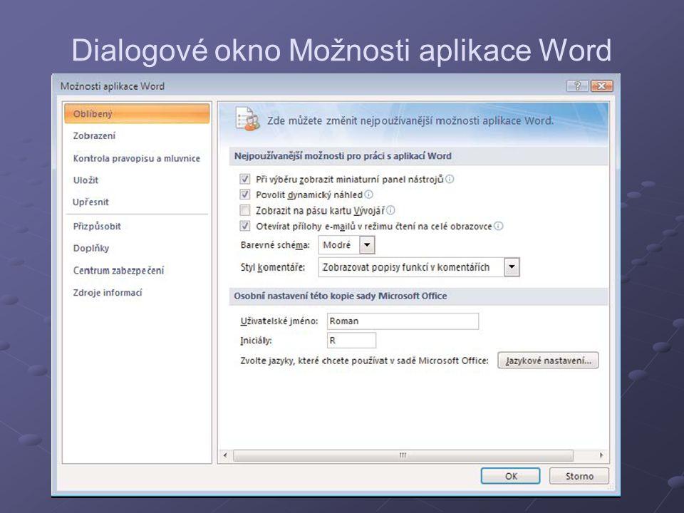 Dialogové okno Možnosti aplikace Word