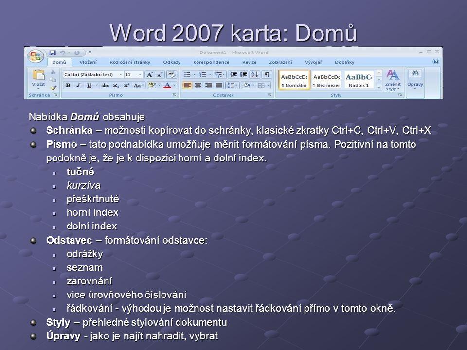 Word 2007 karta: Domů Nabídka Domů obsahuje Schránka – možnosti kopírovat do schránky, klasické zkratky Ctrl+C, Ctrl+V, Ctrl+X Písmo – tato podnabídka