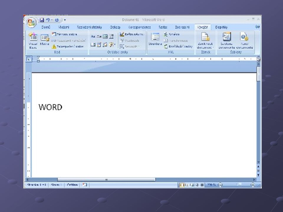 Důležité pojmy Pás karet – nový prvek uživatelského rozhraní MS Office 2007, který je umístěn u horního okraje okna programu a obsahuje různá tlačítka a rozbalovací nabídky.