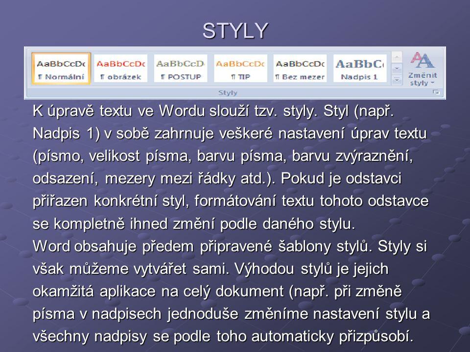 STYLY K úpravě textu ve Wordu slouží tzv. styly. Styl (např. Nadpis 1) v sobě zahrnuje veškeré nastavení úprav textu (písmo, velikost písma, barvu pís