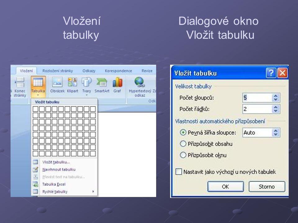 Vložení Dialogové okno tabulky Vložit tabulku