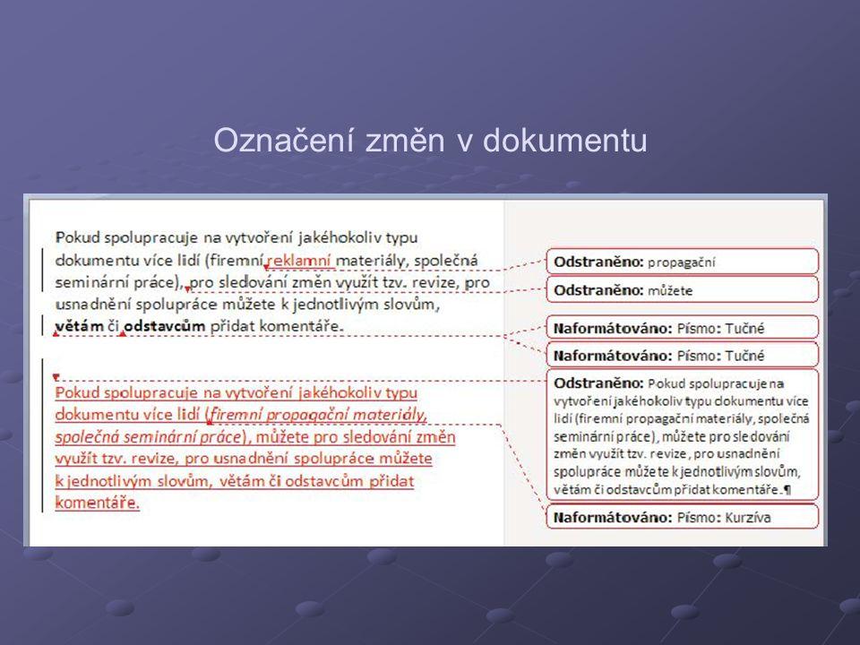 Označení změn v dokumentu