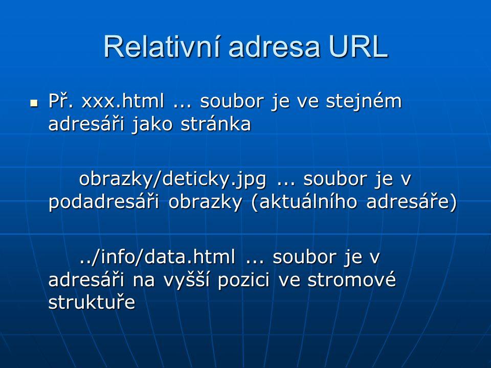 Relativní adresa URL  Př.xxx.html...