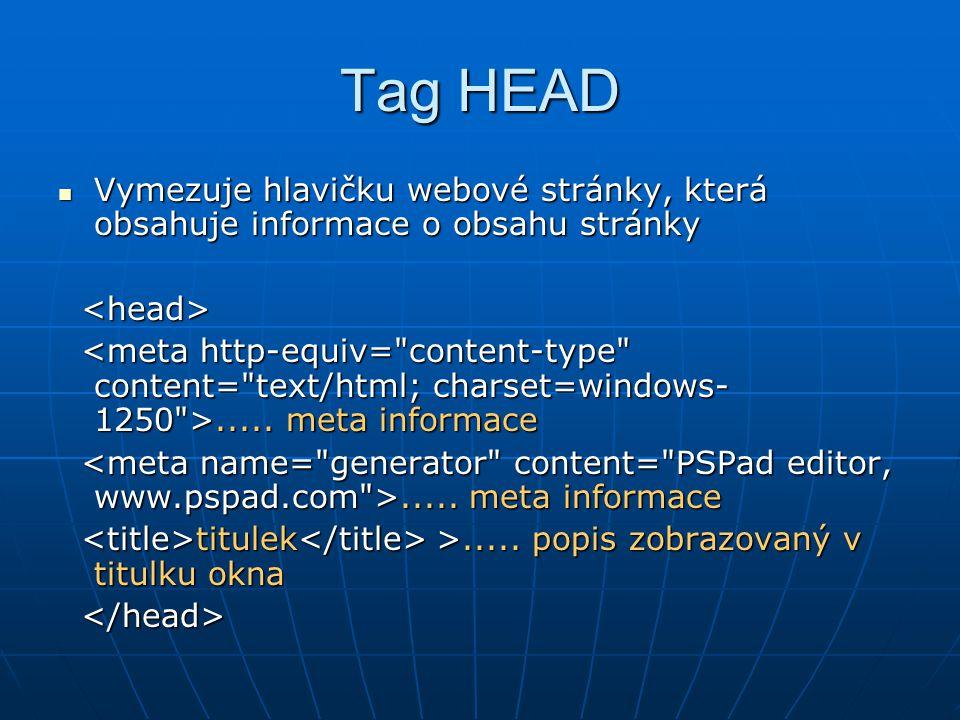 Tag BODY  Obsahuje vše, co se objeví uvnitř okna prohlížeče obsah stránky obsah stránky