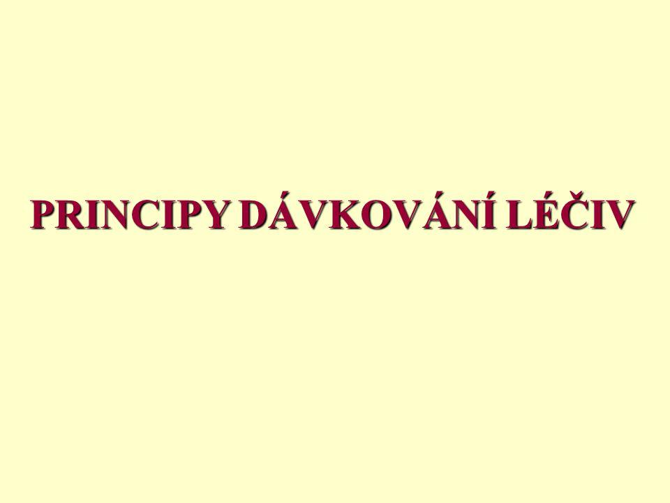 1) Farmakodynamický princip Používá se u většiny léčiv.