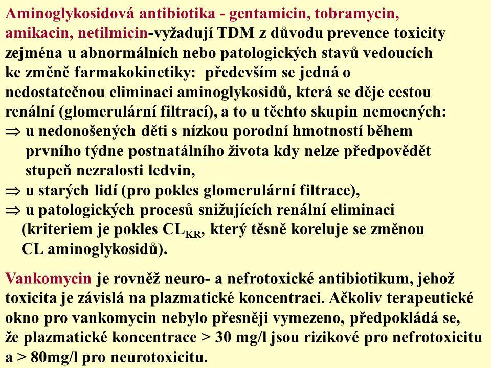 Aminoglykosidová antibiotika - gentamicin, tobramycin, amikacin, netilmicin-vyžadují TDM z důvodu prevence toxicity zejména u abnormálních nebo patolo