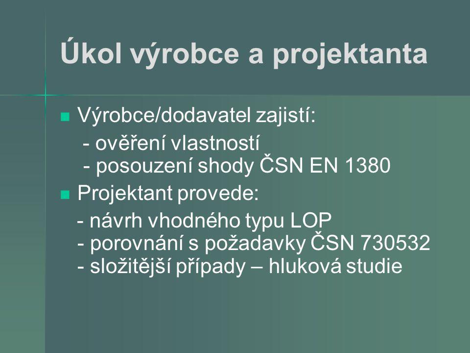 Úkol výrobce a projektanta   Výrobce/dodavatel zajistí: - ověření vlastností - posouzení shody ČSN EN 1380   Projektant provede: - návrh vhodného