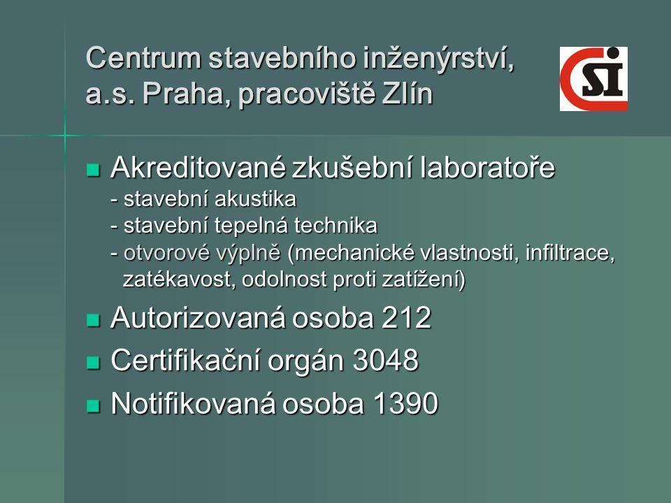 Centrum stavebního inženýrství, a.s. Praha, pracoviště Zlín  Akreditované zkušební laboratoře - stavební akustika - stavební tepelná technika - otvor