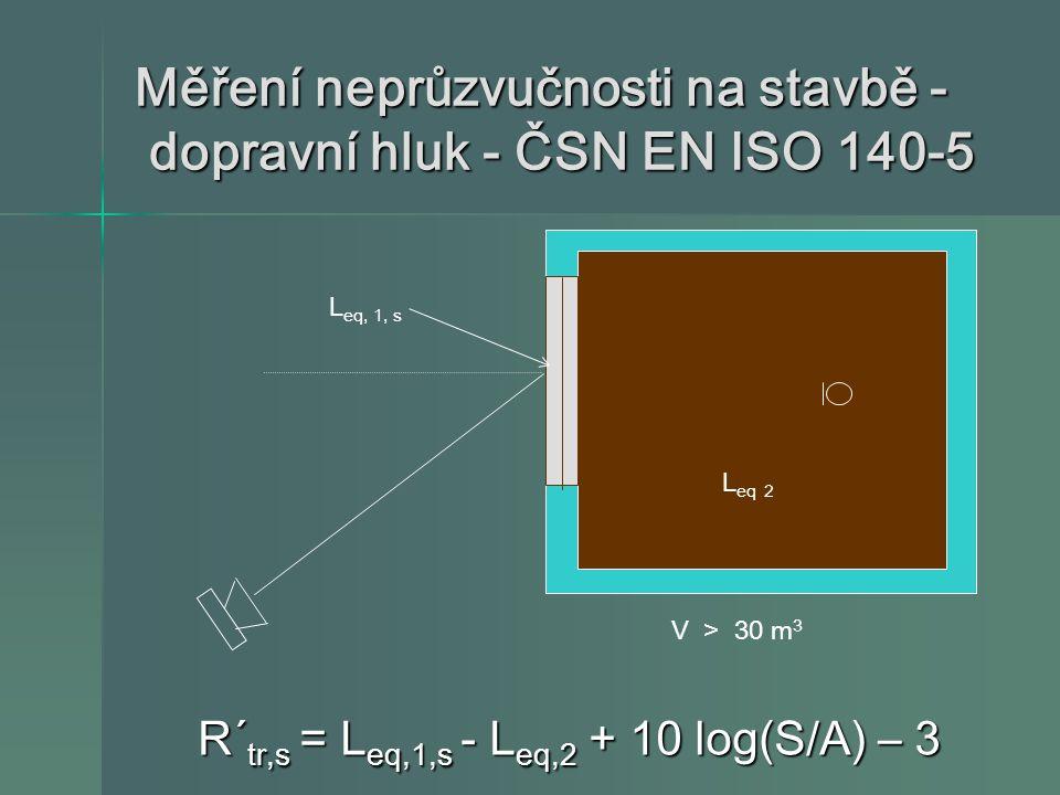 Měření neprůzvučnosti na stavbě - dopravní hluk - ČSN EN ISO 140-5 R´ tr,s = L eq,1,s - L eq,2 + 10 log(S/A) – 3 R´ tr,s = L eq,1,s - L eq,2 + 10 log(