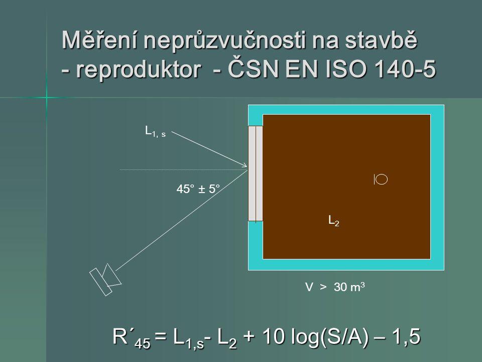 Měření neprůzvučnosti na stavbě - reproduktor - ČSN EN ISO 140-5 R´ 45 = L 1,s - L 2 + 10 log(S/A) – 1,5 R´ 45 = L 1,s - L 2 + 10 log(S/A) – 1,5 V > 3